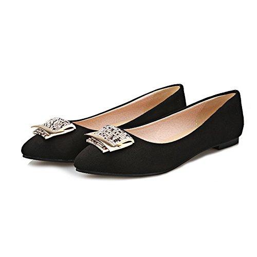VogueZone009 Femme Tire à Talon Bas Suédé Couleur Unie Pointu Chaussures Légeres Noir
