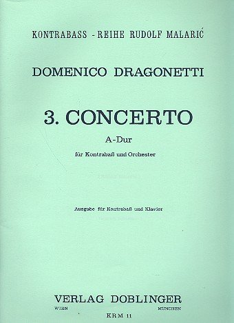 CONCERTO NR  3 A DUR   DOUBLE BASS AND PIANO   BOOK