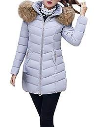 Battercake Doudoune Manteau Femme Hiver Chaud Parka Uni Manche Manches  Longues Poches Latérales Zipper Mode Chic 17975a5b845