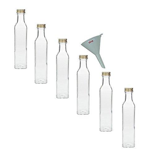 Viva Haushaltswaren 6 x Glasflasche 250 ml mit Schraubverschluss, leere Flaschen zum Befüllen als Ölflasche, Schnapsflasche, Einmachflasche etc. verwendbar (inkl. Trichter Ø 7 cm) (Leere Pet-flaschen)