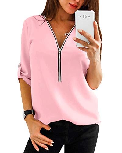 YOINS Sexy Oberteil Damen Sommer Elegante Langarmshirts Damen Bluse Tunika Frühling T-Shirt V-Ausschnitt Tops EU44 Rosa(größer Als Reguläre Größe) Large
