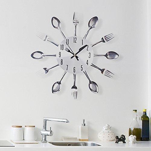 Walplus FY-84G5-QXM1 - Reloj de Pared para Cocina, diseño cucharas y Tenedores, Color Plateado