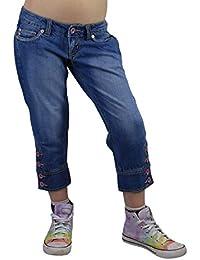 S&LU angesagte Mädchen 7/8-Jeanshose Capri-Jeans mit Totenkopf- oder Tribal-3D-Druck Größe 152 - 176
