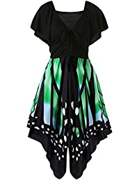 86a1b5386b18 Xmansky Damen Schmetterling Drucken Ärmellos Kleid Nymphe Flügel Schals  Asymmetrie Riemen Kleid (XXL, ...