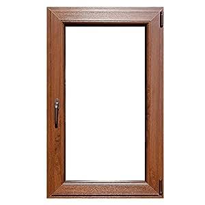 finestra in pvc Salamander 71x116 7cam noce sd Confezione da 1PZ