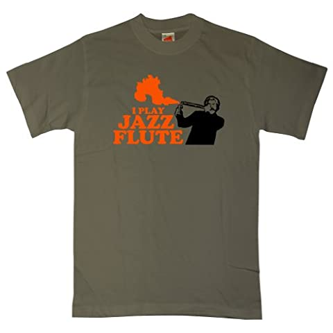 Mens Anchorman T Shirt - Jazz Flute Flame - Olive - XX-Large