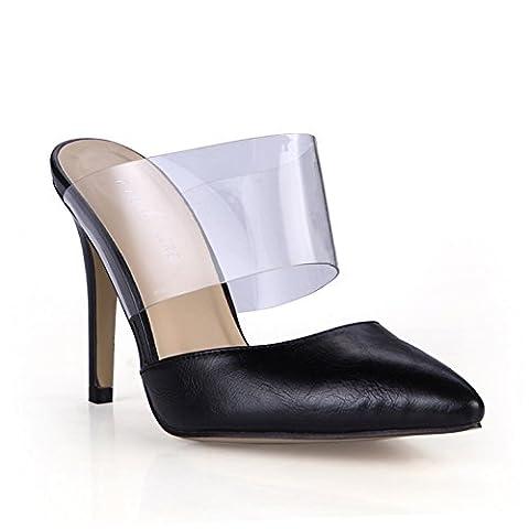 Neue Weibliche Sandalen Geschmack der high-heel Schuhe für größere transparentes Glas Kleben schwarze Punkt Frauen Schuhe, schwarz PU