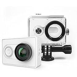 YI Acción Cámara gebündelt con Carcasa Resistente Agua 16MP 2K 1080p/60fps con 2.4G WiFi Bluetooth 4.0–Color Blanco