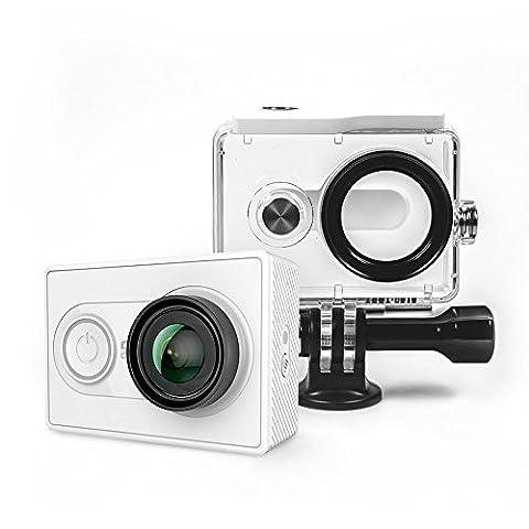 YI Action Kamera gebündelt mit Wasserfestem Gehäuse 16MP 2K 1080P/60fps mit 2.4G WIFI Bluetooth 4.0 - weiß
