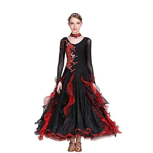 Modern Tango International Dance Dress Wettbewerb Ballroom Dance Röcke/Tanzen Moderne Glatte Walzer Tango-Party Latin Swing Wettbewerb Dancewear Rock Kleid Kostüme Lange Ärmel Leotard Bekleidung,XXL