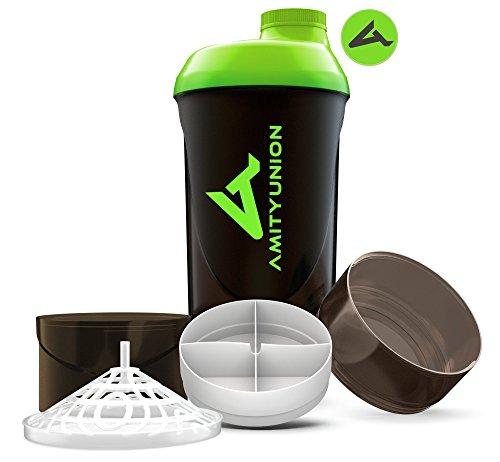 Eiweiß Shaker 700 ml - Das ORIGINAL mit 2 Kammern Set - Deluxe Protein Shaker auslaufsicher - BPA frei mit Sieb, Skala für BCCA Shakes, Gym Fitness Becher für Isolate, Sport Getränk - Schwarz Grün Cup -