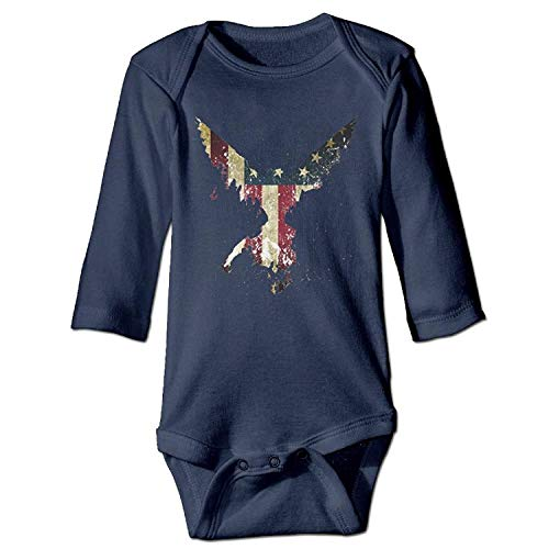 MSGDF Unisex Toddler Bodysuits America Eagle Boys Babysuit Long Sleeve Jumpsuit Sunsuit Outfit Navy
