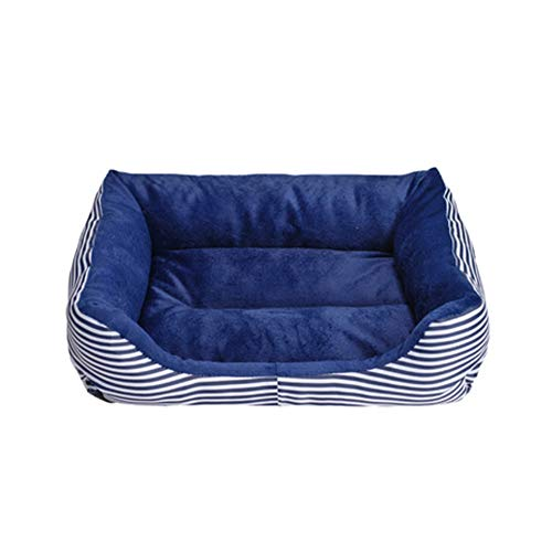Retro Square Bed (XGPT The Dog Es Bed, Retro Square Premium Plush Dog Beds In Oxford Cloth, Fully Washable, Extrem Soft Comfortable,Blue,M)