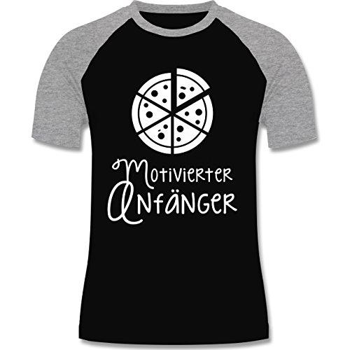 Küche - Motiverter Anfänger Pizza - zweifarbiges Baseballshirt für Männer Schwarz/Grau Meliert