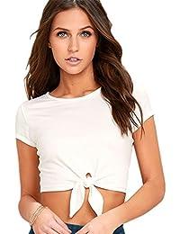 Sexy à Nouer Avec nœudted Avec nœud sur le devant Manches Courtes T-Shirt Court Courte Crop Tee Haut Top