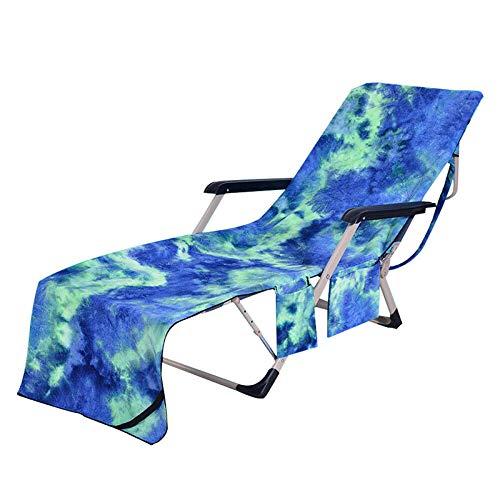 Leobtain Multifunktions-Liegestuhl Strandtuch Sonnenbaden Schnelltrocknend Elastische Mikrofaser Pool Liegestuhl Abdeckung mit Taschen Urlaub Yacht Meer Sonnenbaden
