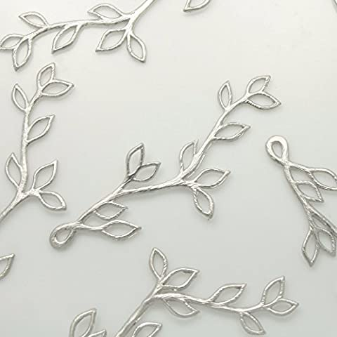 4 pieces of Tree Leaves Silver Filigree beads Pendants Charms Connectors links Metal beads Pendants Charm Silver Original Rhodium Plated over brass for earrings necklace bracelets etc. Jewelry Making Supplies - annielov