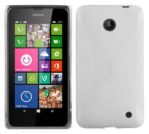 Cadorabo Nokia Lumia 630/635 Custodia Silicone TPU DISEGNO X in SEMI TRANSPARENTE Morbida Cover Protettiva Super Sottile con Bordo Protezione Back Case Ultra Slim Gel Bumper Fina Antiurto Guscio