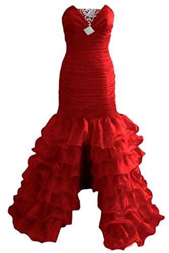 Sunvary Robe Longue Robe de Soir¨¦e Robe de Bal Robe de Party S¨¦duisante sans Bretelles Fente Devant avec Paillettes, Faux Diamants en Organza Rouge