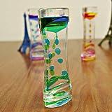 Clessidra con goccioline d'olio di 2 colori, decorazione da scrivania con bolle galleggianti, Vetro, Green, taglia unica