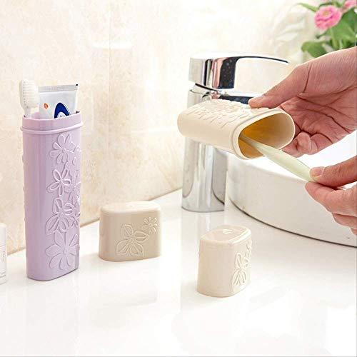 WYHH Aufbewahrungsbox Aufbewahrungsbox Halter Geschnitzt Reine Farbe Travel Case Zahnbürste Veranstalter BadezimmerPink