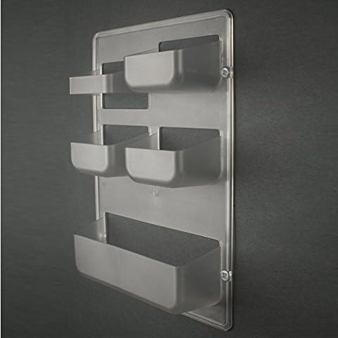 Caja multibolsillo HAPPY POCKET by Kreall color TRANSPARENTE en plástico. Diseño y fabricación Made in Italy. Con accesorios para el montaje en la puerta y la pared.
