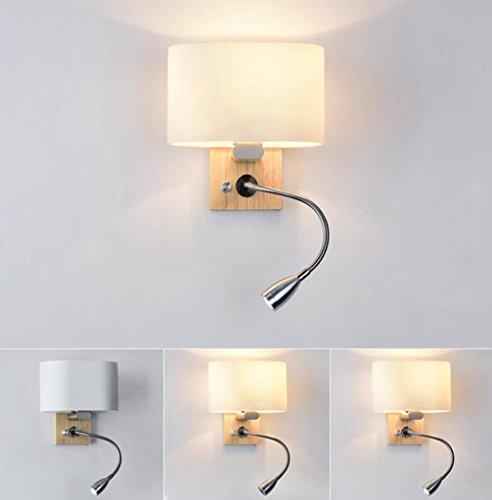 Holz-loft-betten (Daeou LED-Wandleuchte Wohnzimmer, Schlafzimmer mit Bett, Treppe, Gang, Holz- Wandleuchte Lampenabdeckung Material: Glas Größe:20x20x14cm)
