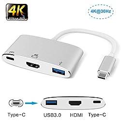 Adaptateur multiport USB C avec Port USB 3.0, Port de Charge Rapide pour Nintendo Switch/MacBook/Samsung S8/S9/Note8, Lenovo Yoga/Dell XPS (Argent)