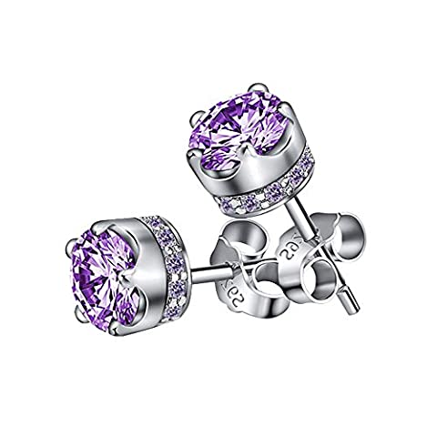 LANMPU 925 Sterling Silver Amethyst Earrings - Swarovski Elements Sparkling