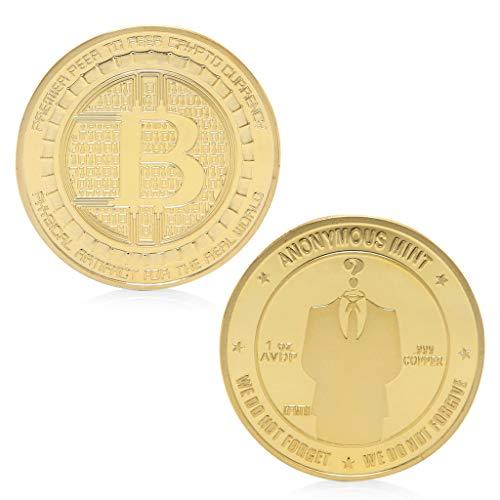 AmarzkGold plattiert anonyme Mint Bitcoin Gedenkmünzen Sammlung Andenken Geschenk (Gold) -