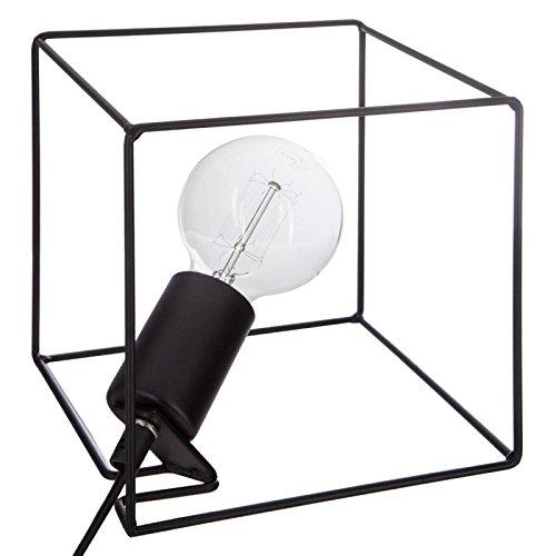 Paris Prix - Lampe à Poser carré 18cm Noir