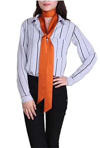 Prettystern - écharpe cravate maigre super slim longue écharpe 2 plis foulard en soie - Large gamme de couleurs Orange