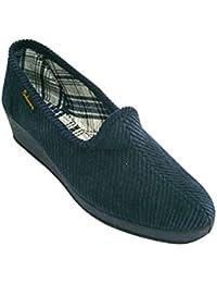 Zapatilla de pana de cuña clásica Salemera en azul marino