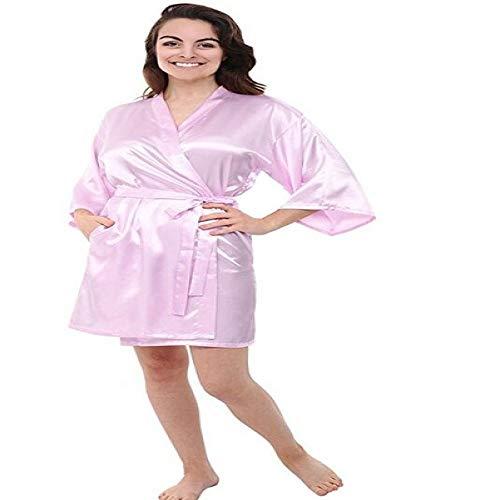 handaxian abito da sera corto in raso di seta da donna accappatoio kimono tinta unita accappatoio da sposa abito da damigella d'onore rosa m