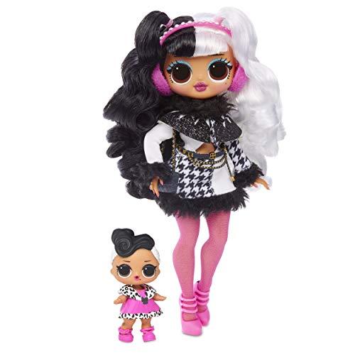 L.O.L. Surprise! 561798E7C O.M.G. Winter Disco Fashion Doll Dollie and Little Sister, Fashionpuppe mit Haaren und kleine Puppenschwester zum Sammeln, 25 Überraschungen