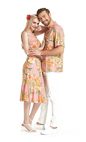 Hecho-en-Hawaii-Premium-Couple-Matching-Luau-Aloha-Camisa-de-vestir-Rosa-floral-con-flores-naranjas