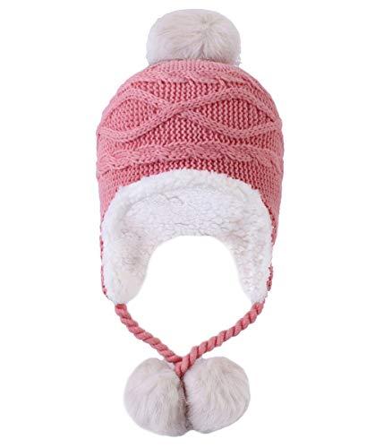 Kuyou Damen Winter Mütze Hut Ohrenschützer Trapper Warm Fellmütze (Rosa)
