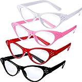 Jovitec 4 Stück Katzen Augen Gläser mit Strass 50er 60er Jahre Thema Party Klassische Brille für Retro Kostüm Verkleiden Sich Party Gefallen
