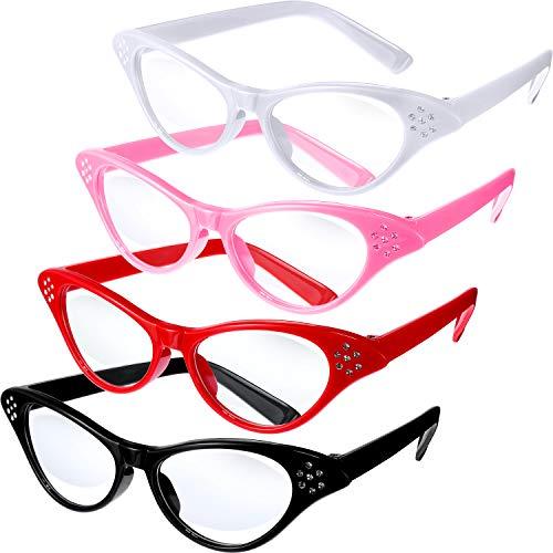 Jovitec 4 Stück Katzen Augen Gläser mit Strass -