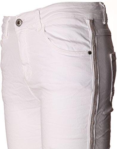 BASIC.de Damen-Hose Skinny mit Kontraststreifen aus Metall-Perlen MELLY & CO 8166 - Weiss