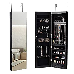 COSTWAY Schmuckschrank mit LED Beleuchtung, Schmuckregal hängend mit Spiegel, abschließbar mit Schlüsseln, 120 cm hoch