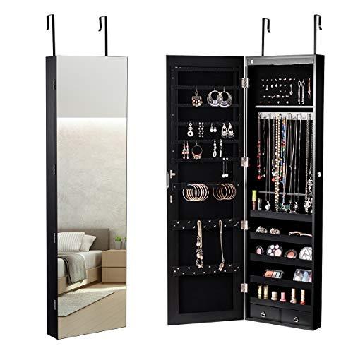 COSTWAY Schmuckschrank mit LED Beleuchtung, Schmuckregal hängend mit Spiegel, abschließbar mit Schlüsseln, 120 cm hoch (schwarz) -