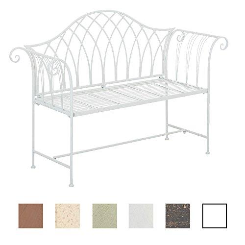 CLP Gartenbank JAMEE aus lackiertem Eisen | Sitzbank im Landhausstil | Eisenbank mit 2-3 Sitzplätzen | In verschiedenen Farben erhältlich Weiß