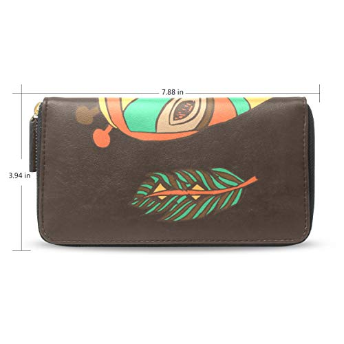 XiangHeFu Frauen Geldbörse Clutch Bag afrikanische Maske Reißverschluss Leder -