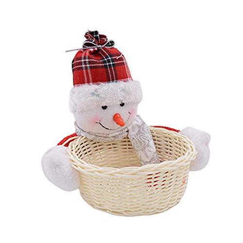 YHUJH Home Noël Décoration de Table Motif Bonbons de Noël Panier de Rangement Décoration de Noël Bonhomme de Neige Cadeau Décoration Bonhomme de Neige, Snowman