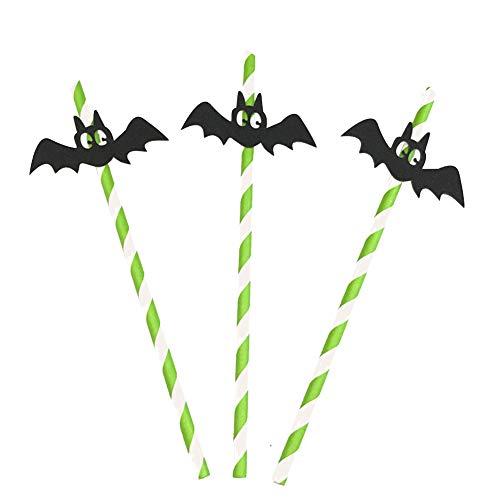Treestar 10 Stück Halloween-Partys Strohhalme Einwegpapier Obst Saft Getränke Party Strohhalme Spinnen Fledermaus Kürbis Hexe 19,5 x 0,6 cm