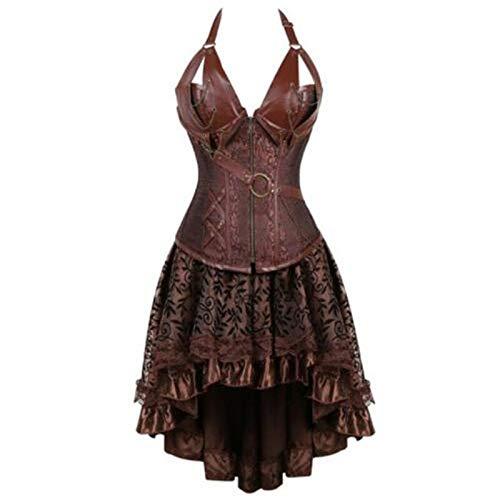 XMDNYE Steampunk Bustier Korsett Kleid Plus größe schwarz braun Zipper schwarz Faux Leder Korsett mit Rock Gothic Punk Burlesque Pirate