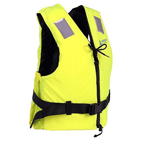 Leader International Schwimmhilfe Erwachsene ISO 12402 CE-Kennzeichnung, Festtoffweste ideal für Den Wassersport, Auftriebshilfe bis zu 50N(Gelb XL: 90kg+)