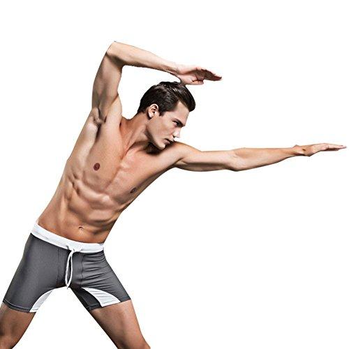 Huntvp Männer Badeanzug Schwimmhose Trunks Strandshort Modern Solid Nylon Shorts für Schwimmen Boxer Sport Grau