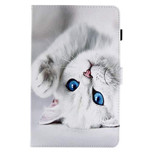 """Coopay Animaux Pochette Housse en Cuir PU pour Tablette Samsung Galaxy Tab A 10.1"""" (2016) SM-T580/T585 Chat Blanche Motif Flip Rabat Magnétique Etui de Protection Rigide avec Support Fonction"""